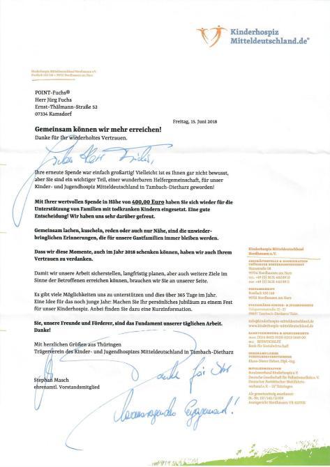 POINT-Fuchs unterstützt auch 2018 das Kinderhospiz