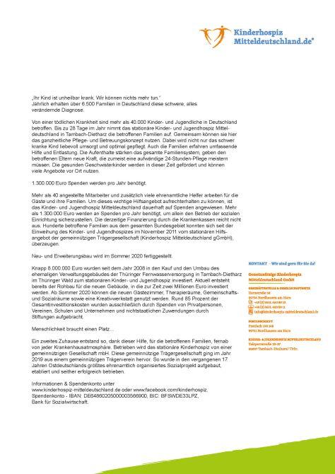Allgemeine Info Kinder- und Jugendhospiz Mitteldeutschland